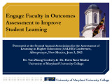 Engage faculty in outcomes assessment to improve student learning